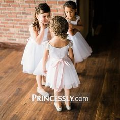"""Ivory Lace Cap Sleeves Tulle Flower Girl Dress with ivory sash"" ---- Princessly.com Customer Photos"