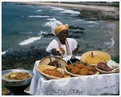Baiana selling Acaraje on the streets of Bahia - Brazil