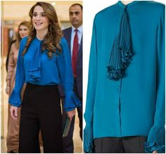 Queen Rania wearing a Gucci pleated blouse