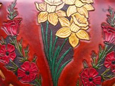Womans / Leather Purse /  The Garden Purse / Leather Bag / Hand Carved and Tooled