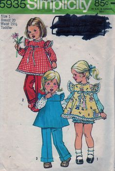 Simplicity 5935 1970s Toddlers Panties Smock and Pants  vintage sewing pattern by mbchills,
