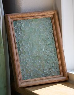 Sea glass frame beach glass frame. aqua and by BorealisSeaGlass. 8 x 6 frame