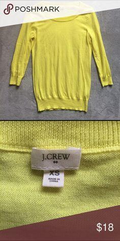 J Crew Yellow  3/4 Sleeve Basic Sweater Bright yellow, basic,  3/4 Sleeve sweater, 100% cotton. J. Crew Sweaters Crew & Scoop Necks