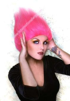 International Wigs®: Pink Treasure Troll Wig - For All Ages Troll Halloween Costume, Costume Wigs, Hair Gel, As You Like, Unique, Pink, Handmade, Color, Style