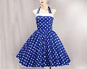 1950s Rockabilly Vintage Dress Halterneck Royal Blue / Med White Polka Dot (D01-CM08)
