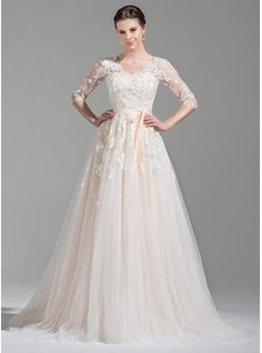 A-Line/Princess V-neck Court Train Tulle Wedding Dress With Beading Appliques Lace Sequins Bow(s) (002071524)