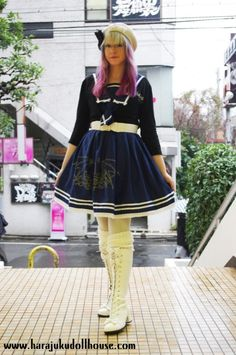 harajukudollhouse of Tumblr wearing her Nightmare Rising JSK while researching kawaii culture and fashion subcultures in Japan.