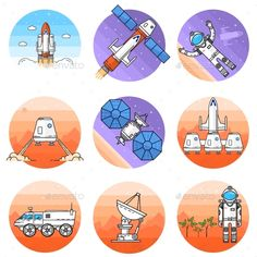 Space Thin Line Icon. Vector Illustration. by sivVector Space thin line icon. Vector illustration. Human mission to Mars. For web design and application interface, also useful for infogr