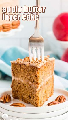 Layers and layers of deliciousness this Apple Butter Layer Cake is THE cake you want to make this fall. Spiked with apple butter and frosted with a cinnamon buttercream. A 2 layer cake that is laced with apple butter and cinnamon buttercream towers high over everything. This cake literally screams fall! You'll be surprised at how easy this gorgeous cake is to make. Apple Cake Recipes, Apple Desserts, Cream Cheese Icing, Cinnamon Cream Cheeses, Old Fashioned Cake Recipe, 2 Layer Cakes, Apple Butter, Fall Baking, Breakfast Cake