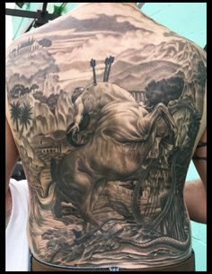 Chiron, Chiron Tattoo, Mythology, Mythological Tattoo, Greek Tattoo, Black Tattoo, Black and Grey Tattoo, Back Piece Tattoo, Berlin Tattoo Artists