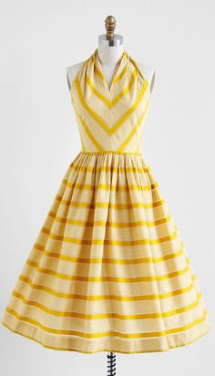 vintage 1950s marigold yellow chevron stripe #dress #fashion #1950s #partydress #vintage #frock #retro #sundress #feminine