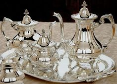 Sterling Silver 5-piece Pointed Antique Tea Set