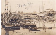 "RP: ""Wreckage Everywhere"" , Storm damage , Charlestion , South Carolina , 1910 Item# SCVIEW250664 (214303927)"