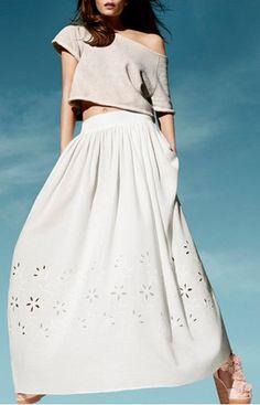 Eyelet Maxi Skirt