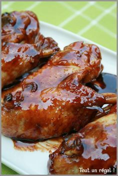 Ailes de poulet caramélisées No Cook Meals, Chicken Wings, Love Food, Barbecue, Delish, Chicken Recipes, Pork, Food And Drink, Cooking Recipes