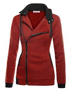 DJT Women's Oblique Zipper Slim Fit Hoodie Jacket Medium Dark Red: Size Guide for S: Length Bust Waist Shoulder Sleeve Length Hem Cuff M: Length Bust Waist Shoulder Sleeve Length Hem Cuff L: Length Bust Waist Shoulder Sleeve Length Hem Hoodie Sweatshirts, Slim Fit Hoodie, Color Shorts, Hoodie Jacket, Black Sweaters, Polyvore, Clothes, Dark Red, 2016 Winter