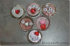 bottle cap craft ~ kids can make them into pins or magnets