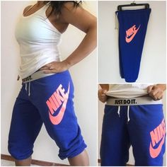 """Nike Blue Capri Cropped Joggers Sweatpants Nike blue cropped sweatpants. Size medium.  Worn twice. Vibrant royal blue w/ neon melon logo on the leg. Roomy fit. Slight piling between legs; this is normal for cotton blends, even after 1-2 wears. What can I say? My thighs are so sexy that they can't stop touching each other! Elastic drawstring waist & cuffs. Waistband can be rolled down to reveal the """"JUST DO IT"""" motto. Waist is approx 15.75"""" across unstretched, and inseam is approx 23.5""""…"""
