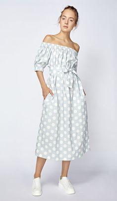 Платье с открытыми плечами в горох, фото 5
