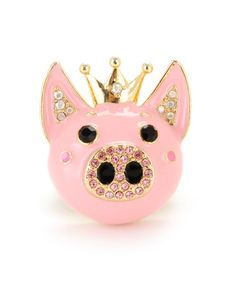 Pig Stretch Ring by Betsey Johnson. Its so fun