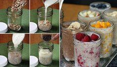 Déjeuner rapide Sauvez du temps le matin, préparez du gruau sans cuisson la veille! Dans un pot Mason : 2/3 de tasse de flocons d'avoine 1/2 tasse de lait 1/2 tasse de yogourt (n'importe quelle saveur) 1 c. à table de graines de chia ou de lin moulues (optionnel) 1/2 c. à thé de miel ou de sirop d'érable (optionnel, utilisez si votre yogourt n'est pas sucré) 1/2 tasse de fruits frais ou secs Fermez le couvercle et placez au frigo toute la nuit.