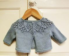 I knit this little cardigan for a friend's baby girl. Cute pattern!