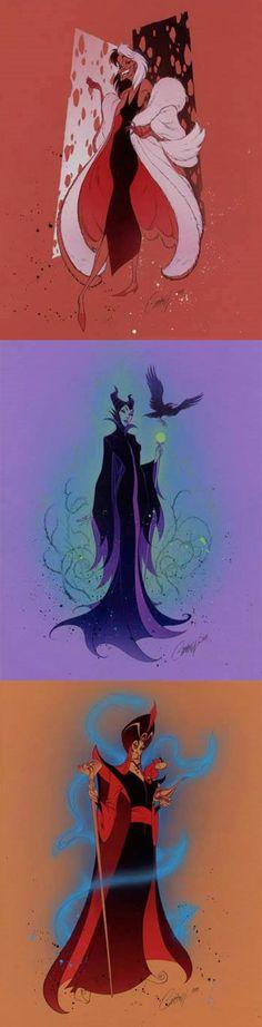 Disney Villains by J. Scott Campbell ~ Cruella, Maleficent, and Jafar