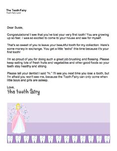 This printable letter from the Tooth Fairy is ideal for the occasion of a young child's first lost tooth. Free to download and print