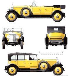 1927 Rolls-Royce Phantom I Park Ward Tourer Cabriolet blueprints free - Outlines Ferrari F40, Lamborghini Gallardo, Maserati, Bugatti, F1 Racing, Drag Racing, Classic Rolls Royce, Rolls Royce Phantom, Pagani Huayra
