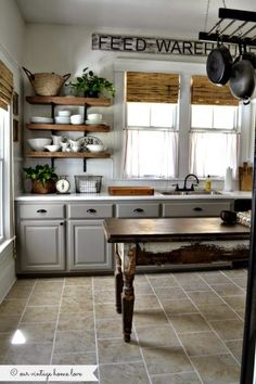 Our Vintage Home Love Farmhouse Kitchen, 20 Farmhouse Kitchens via A Blissful Nest