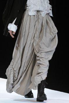Long taupe skirt with pleats & soft drape; runway fashion details // Yohji Yamamoto