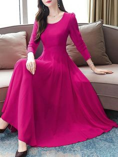 Women's A Line Dress Solid Color Crew Neck Patchwork Maxi Long Sleeve Slim Celebrity&Elegant High Waist dresses Women's A Line Dresses, Maxi Dresses, Dresses With Sleeves, Casual Gowns, Punjabi Suits Designer Boutique, Frock For Women, Cheap Dresses Online, Queen, Pool Houses