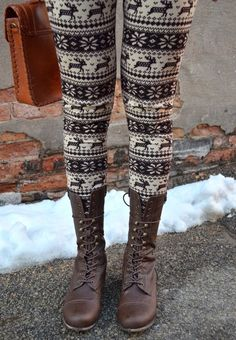 URBANOG boots paired with cute fair isle leggings for the perfect winter look!