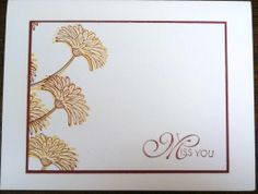 Clean  simple Miss You card for OWH, Floral from Reason to Smile stamp set by Stampin Up