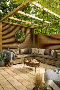 Large patio area with a garland illuminated pergola area and ratta . - Large patio area with a garland illuminated pergola area and rattan corner sofa - Decking Area, Outdoor Rooms, Backyard Design, Outdoor Decor, Patio Design, Garden Seating, Garden Spaces, Rattan Corner Sofa