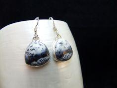 Dendritic Opal Trillion Handmade Silver Drop Earrings by WelshHillsJewellery on Etsy