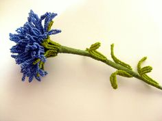 French beaded carnation, dusky denim blue beaded flower. $25.00, via Etsy.