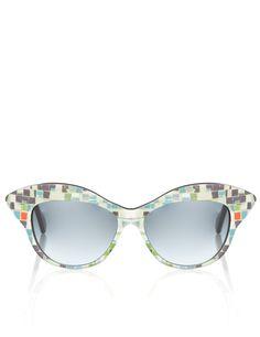 Mosaic Cat-Eye Sunglasses | Wunderkind Turquoise Mosaic Cat-Eye Sunglasses by Wolfgang Joop | Avenue32