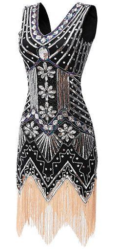 3d4f353689d4 gastbypty Womens 1920 s Vintage Gatsby Bead Sequin Deco Flapper Dress  (X-Small