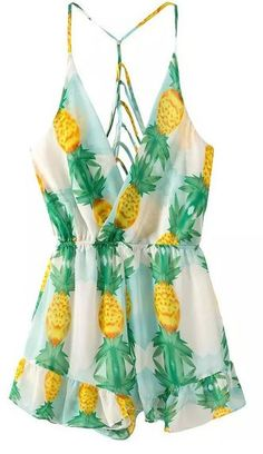 Green Pineapple Print Spaghetti Strap Cross Back Playsuit at Choies - Trendslove