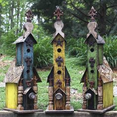 Tall Vintage Birdhouse with Two Entries by Lorenzo's Wood Works
