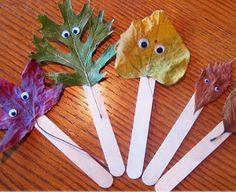 10 Awesome Leaf Crafts for Kids Leaf Crafts Kids, Easy Crafts For Kids, Craft Stick Crafts, Creative Crafts, Craft Sticks, Popsicle Sticks, Kids Diy, Craft Ideas, Autumn Leaves Craft