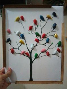 Pista shell crafts - wall hanging craft Read More on BuzzTmz com Bird Crafts, Rock Crafts, Diy Home Crafts, Diy Arts And Crafts, Hobbies And Crafts, Creative Crafts, Crafts To Sell, Crafts For Kids, Bedroom Crafts