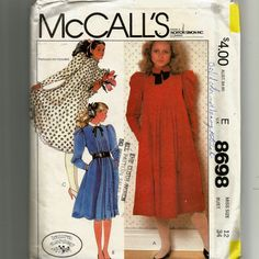 McCall's Misses' Dress and Neck Tie or Tie Belt Pattern 8698 by NewAgain on Etsy