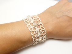 Tatted Lace Cuff in off white with glass beads for her bridal party -MOD MTO other color options