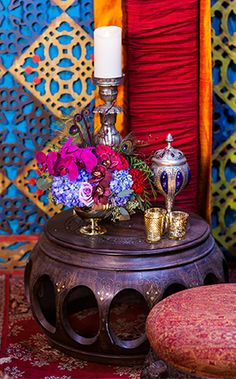 Treasures from around the world are scattered throughout this wedding reception inspired by Disney's Aladdin