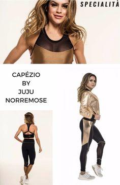 dd56faca80 Look Fitness Juju Norremose - Capezio coleção Juju Norremose - legging  fitness metalizada dourada