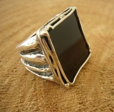 Black Agate Silver Ring Large Square Agate Ring by TevalouJewelry