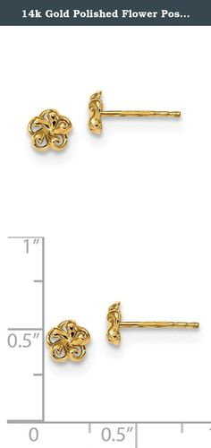 14k Gold Polished Flower Post Earrings. Product Description Material: Primary - Purity:14K Finish:Polished Length of Item:6 mm Feature:Solid Material: Primary:Gold Width of Item:6 mm Product Type:Jewelry Jewelry Type:Earrings Sold By Unit:Pair Material: Primary - Color:Yellow Earring Closure:Post & Push Back Earring Type:Themed Items per Pack:2.