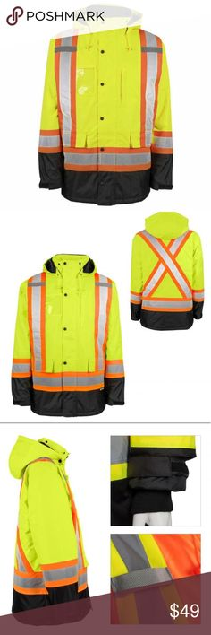 Purposeful High Visibility Waterproof Reversible Vest Other Men's Clothing Reflective Tape Day And Night Use